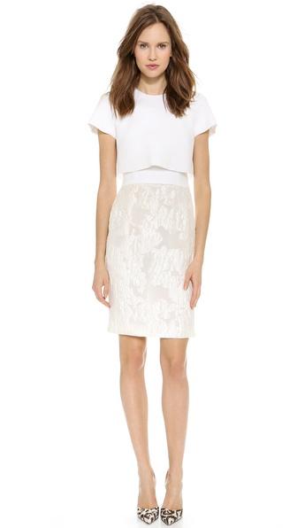 Giambattista Valli Short Sleeve Overlay Dress