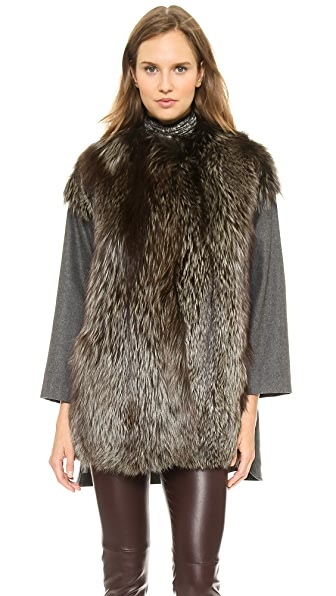 Giambattista Valli Woolen Coat with Fox Fur