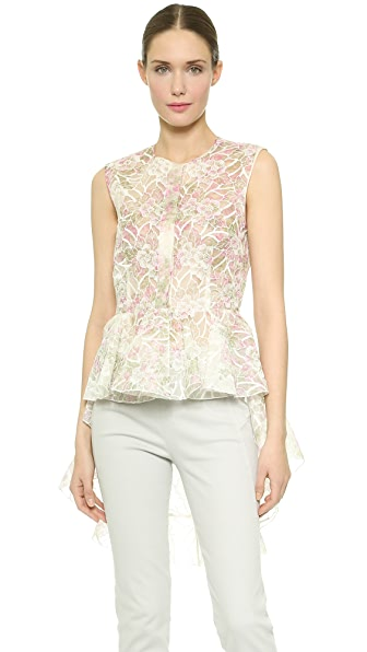 Giambattista Valli Embroidered Peplum Top - Pink