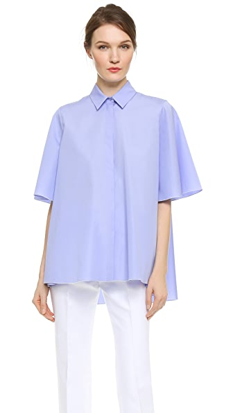Giambattista Valli Short Sleeve Poplin Top - Blue
