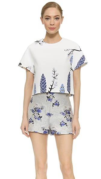 Giambattista Valli Short Sleeve Blouse - Blue