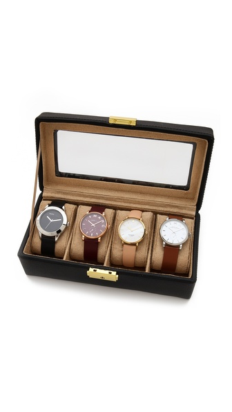 Gift Boutique Genuine Leather 4 Watch Case - Black at Shopbop / East Dane
