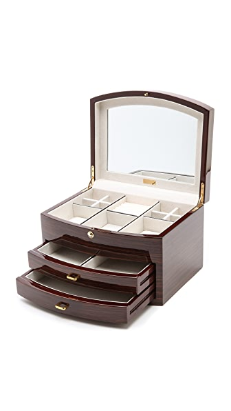 Gift Boutique Ebony Zebra Wood Multi Level Jewelry Box