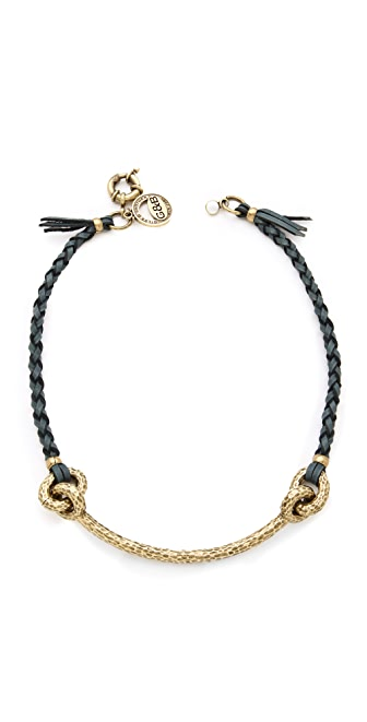 Giles & Brother Hammered Archer Braided Leather Necklace