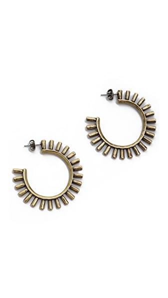Giles & Brother Hammered Sunburst Hoop Earrings
