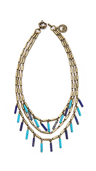 Giles & Brother Stone Fringe Multi Chain Necklace