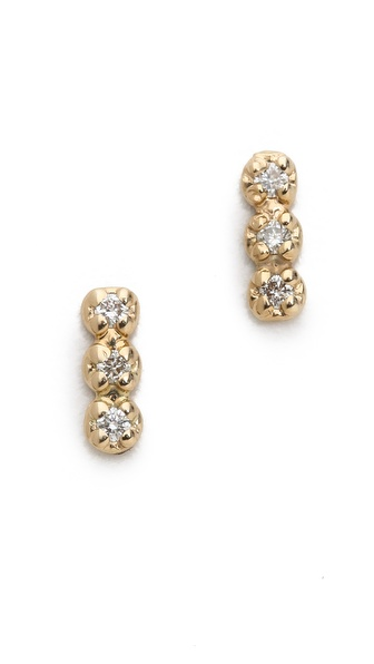 ginette_ny Triple Diamond Stud Earrings