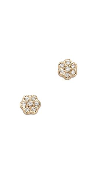 ginette_ny Mini Diamond Lotus Stud Earrings