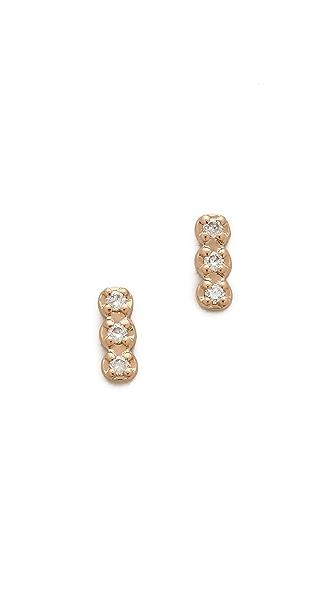 ginette_ny Triple Diamond Stud Earrings