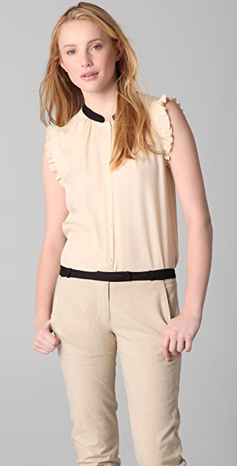 Girl. by Band of Outsiders Sleeveless Ruffle Top