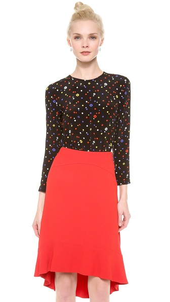 Giulietta Fiorella Print Simple Blouse - Black Multi
