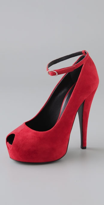 Giuseppe Zanotti Open Toe Suede Pumps with Ankle Strap