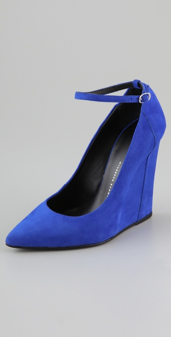 Giuseppe Zanotti - Suede Wedge Pumps with Ankle Strap from shopbop.com
