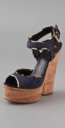 Giuseppe Zanotti Cork Cutout Wedge Sandals