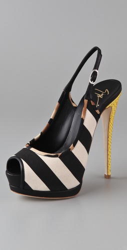 Giuseppe Zanotti Striped Sling Back Pumps