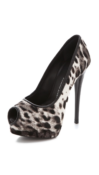 Giuseppe Zanotti Snow Leopard Peep Toe Pumps