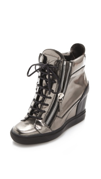 Giuseppe Zanotti Metallic Wedge Sneakers