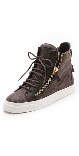 Giuseppe Zanotti London Double Zip Sneakers at Shopbop.com