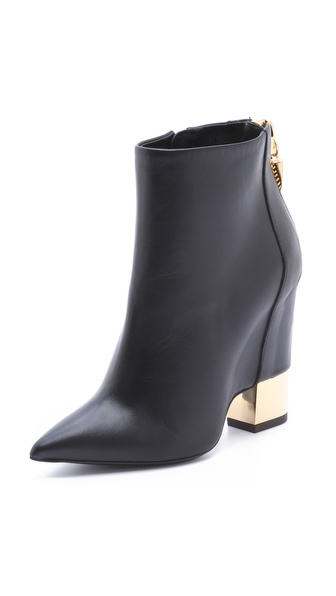 Giuseppe Zanotti Leather Booties with Gold Metal Heel
