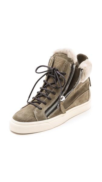 Giuseppe Zanotti Suede Double Zip Sneakers