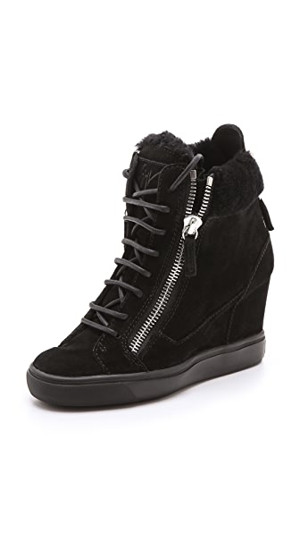 Giuseppe Zanotti Suede Double Zipper Wedged Sneakers