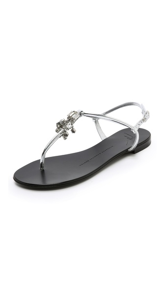 Giuseppe Zanotti Crystal Accent Flat Sandals