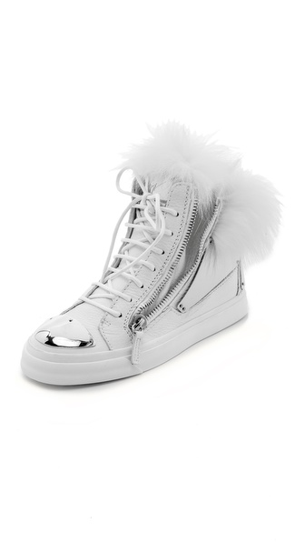 Giuseppe Zanotti Leather & Fur Sneakers