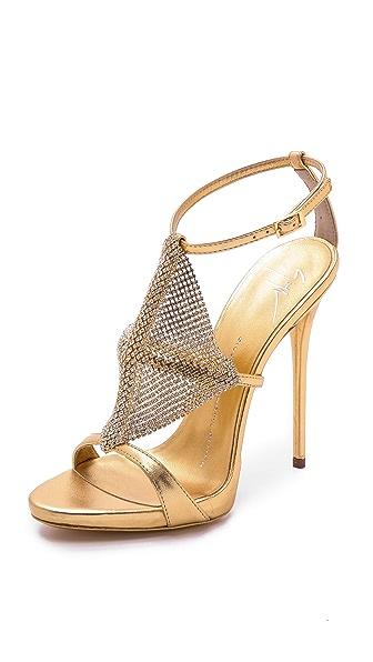 Giuseppe Zanotti Giuseppe Zanotti Crystal Mesh Heels (Yellow)