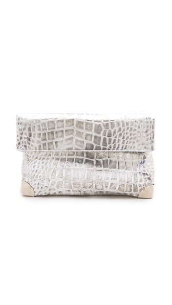 Golden Lane Small Croc Print Duo Clutch
