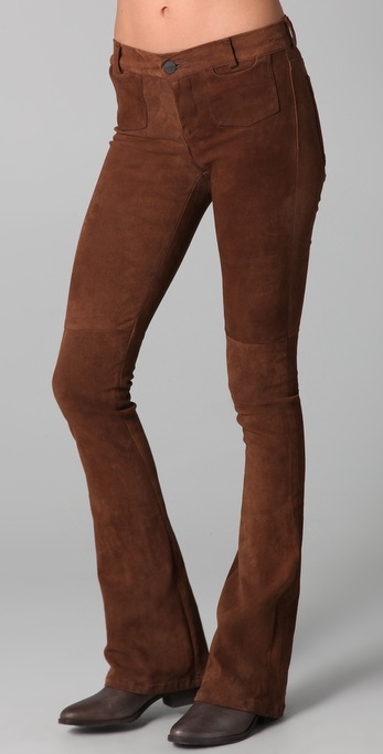 GOLDSIGN Blossom Leather Flare Pants