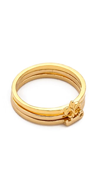 Gorjana Key & Fleur de Lis Stacking Rings