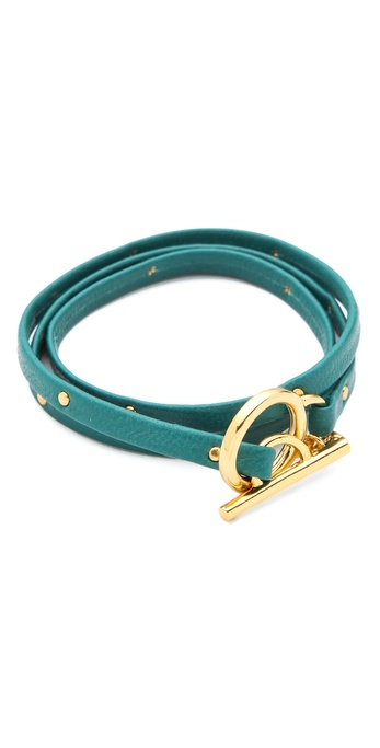 Gorjana Graham Leather Studded Wrap Bracelet