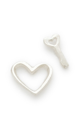 Gorjana Heart and Love Key Stud Earrings