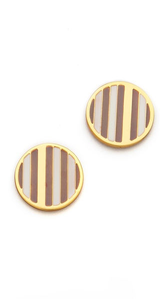 Gorjana Sea Stripe Circle Stud Earrings