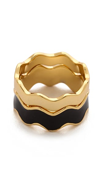 Gorjana Zigzag Enamel Double Ring Set