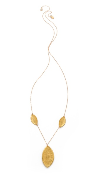 Gorjana Sage 3 Leaf Long Drop Necklace