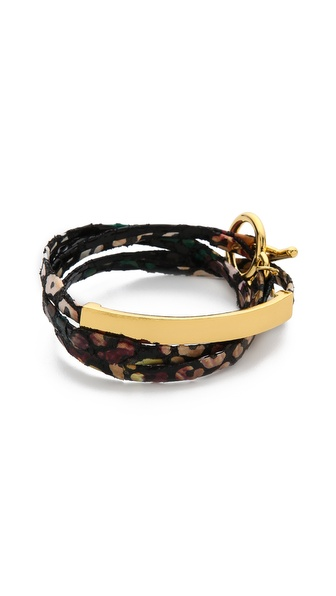 Gorjana Graham Flora Leather Bar Triple Wrap Bracelet