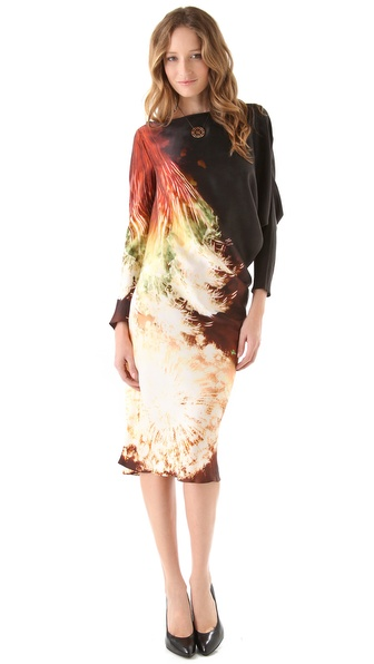Maria Grachvogel Print Satin Garnet Dress