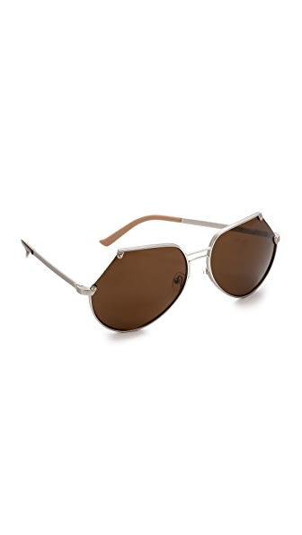 Grey Ant Embassy Sunglasses - Matte Silver/Brown