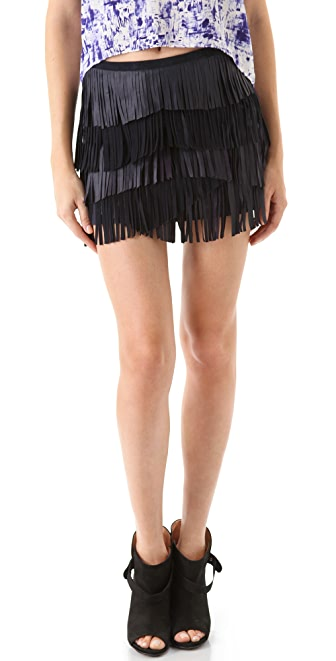 Gryphon Fringe Leather Miniskirt