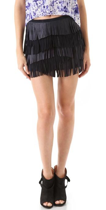 Gryphon Fringe Leather Miniskirt