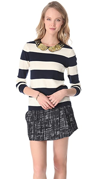 Gryphon Rugby Stripe Sweater with Golden Collar