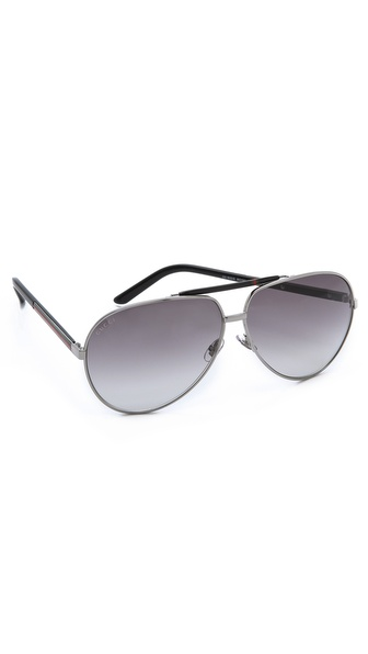 Gucci Metal Aviator Sunglasses - Ruthenium