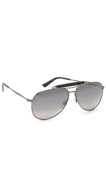 Gucci Aviator Sunglasses With Gradient Lenses - Dark Ruthenium