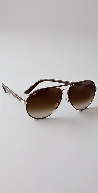 Gucci Sunglasses Leather Frame Aviator : Gucci Leather Aviator Sunglasses SHOPBOP