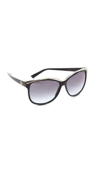 Gucci Oversized Sunglasses - Shiny Black at Shopbop / East Dane