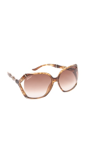 Gucci Oversized Sunglasses - Brown Horn at Shopbop / East Dane