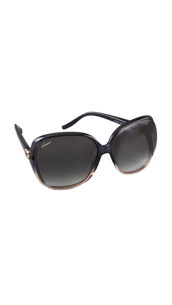 Gucci Oversized Sunglasses - Shiny Blue at Shopbop / East Dane