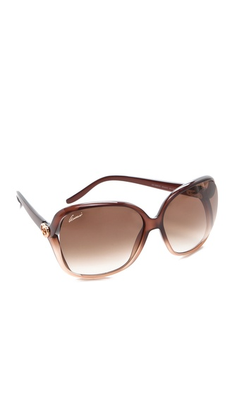 Gucci Oversized Sunglasses - Shaded Brown at Shopbop / East Dane