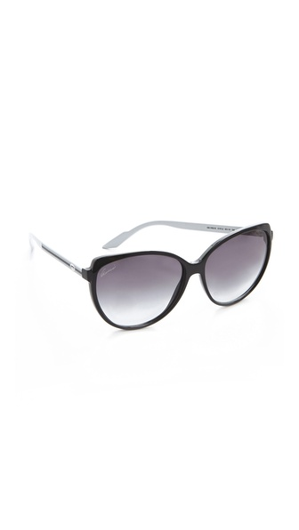 Gucci Youngster Cat Eye Sunglasses - Black White/Grey at Shopbop / East Dane
